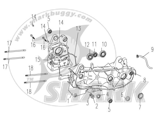 E-15 CRANKCASE RIGHT / LEFT