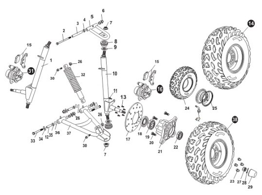 Fig. 22 FRONT SUSPENSION ARM ASSY.