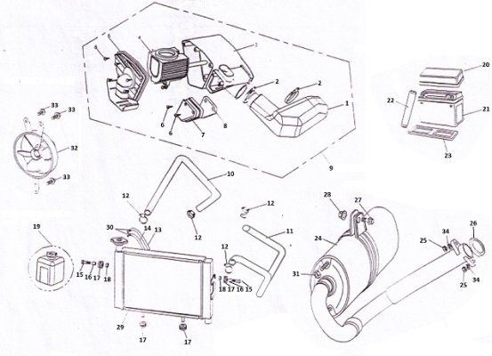 Fig. 23 AIR CLEANGE / RADIATOR / BATTERY / MUFFLER ASSY. IMPERATOR